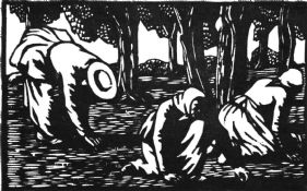 wood-engraving of Olive Pickers